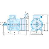 IE2 Elektromotor 1,1 kW, 230/400 Volt Voetflensbevestiging B3-B5, 1500 RPM