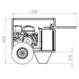 Hydrauliek aggregaat powerpack met 13 pk benzinemotor complete set afmetingen zijkant