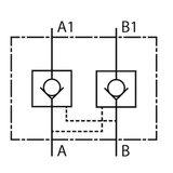 NG6 Hydrauliek druk gestuurde terugslagklep A en B