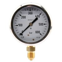 Manometer aansluiting onder 63mm rvs gevuld met glycerine 0-600 bar