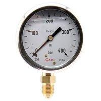 Manometer aansluiting onder 63mm rvs gevuld met glycerine 0-400 bar