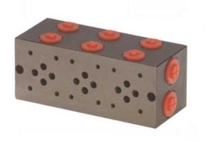 Voetplaat NG-6 zonder overdrukventiel 9 voudig boven- en zij aansluiting