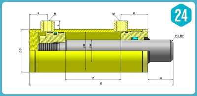 Dubbelwerkende cilinder 60x30x700 zonder bevestiging