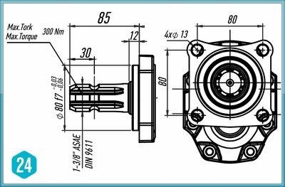 PTO Tandwielpomp met stalen pomphuis ASAE ISO serie pomp 100cc