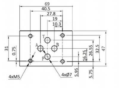 NG6 230V Cetop 4/3 stuurventiel met handbediening, H-middenstand