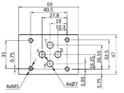 NG6 12V Cetop 4/3 stuurventiel met handbediening, ABT verbonden P gesloten