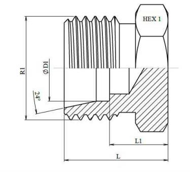 Metrische blindplug Ø 28L M36x2