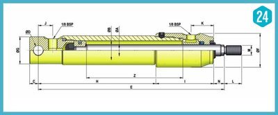 Dubbelwerkende micro cilinder met bevestiging 25x16x200