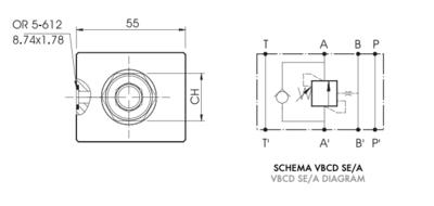 Enkelwerkende balanceerklep VBCD SE/A NG6 CETOP 3