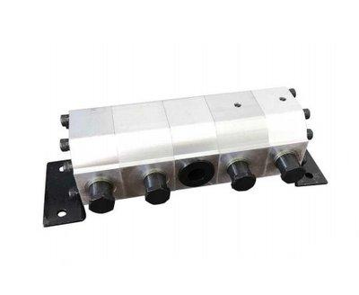 Verdeelmotor, 4-voudig, 11,4-22,7 l/min met drukveiligheid