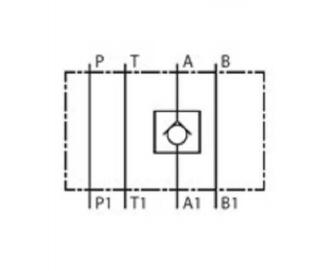 NG6 tussenblok met terugslagklep in poort A
