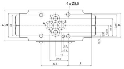 NG6 tussenblok met terugslagklep in poort A + B