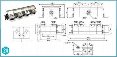 Verdeelmotor, 4-voudig, 3-6,4 l/min zonder drukveiligheid