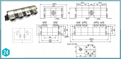 Verdeelmotor, 2-voudig, 17-34,1 l/min zonder drukveiligheid