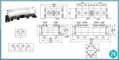 Verdeelmotor, 4-voudig, 9,5-18,9 l/min met drukveiligheid