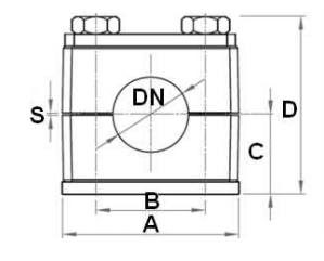 Versterkte RVS buisklem enkel compleet 28 mm