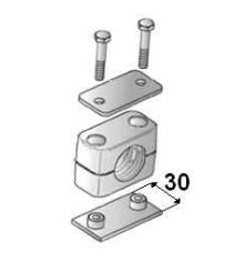 Versterkte RVS buisklem enkel compleet 30 mm