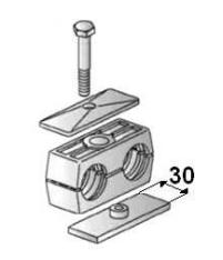 Versterkte RVS buisklem dubbel compleet 6 mm