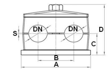 Versterkte RVS buisklem dubbel compleet 10 mm
