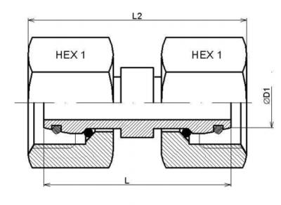 RVS dubbele moer 35L (32x2,5)