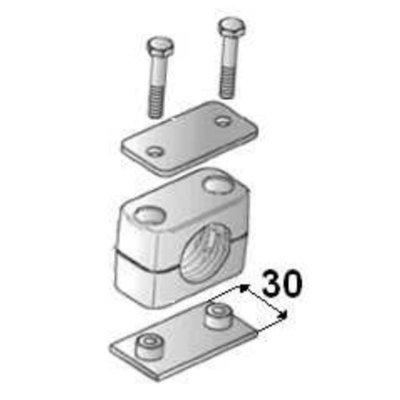 Versterkte buisklem enkel compleet 25 mm