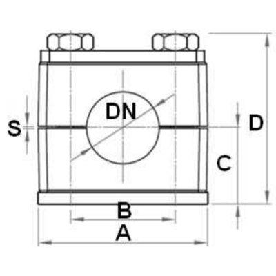 Versterkte buisklem enkel compleet 26.7 mm