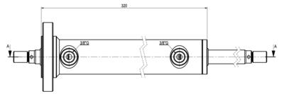 Cilinder dubbele stang 40x20x200 met bevestigingsflens