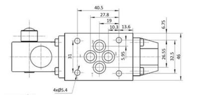 NG6 handbediend Cetop 4/2 stuurventiel, AB gesloten, PT verbonden