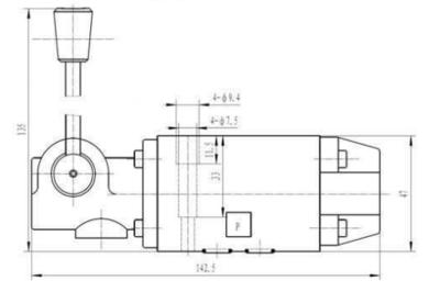 NG6 handbediend Cetop 4/2 stuurventiel, H-middenstand