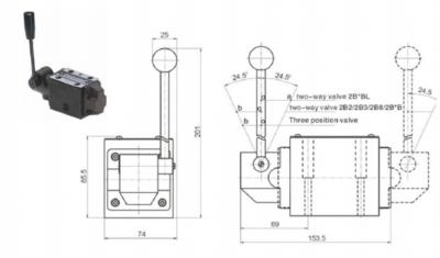NG10 handbediend Cetop 4/2 stuurventiel, P gesloten, ABT verbonden
