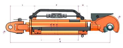 Topstang cilinder voor 3-punts ophanging 90x50x250 met gestuurde terugslagklep + vanghaak