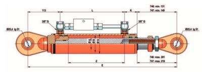 Topstang cilinder voor 3-punts ophanging 60x40x300 met gestuurde terugslagklep + instelbaar oog