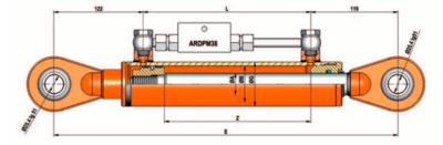 Topstang cilinder voor 3-punts ophanging 50x30x280 met gestuurde terugslagklep