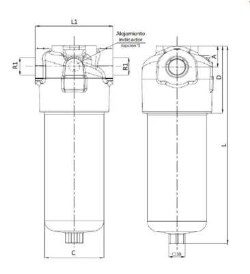 Hydrauliek persfilter 1'' BSP 10µ, 120 L/min