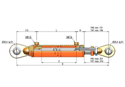 Topstang cilinder voor 3-punts ophanging 70x45x300 met instelbaar oog