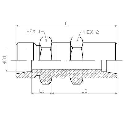 RVS Schotkoppeling 6S (M14x1,5)