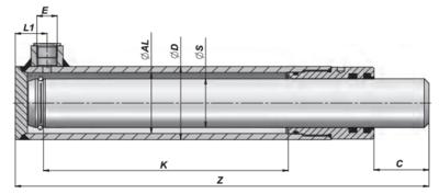 Enkelwerkende plunjer cilinder 40x30x250 zonder bevestiging