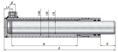 Enkelwerkende plunjer cilinder 40x30x300 zonder bevestiging