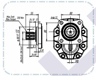 PTO Tandwielpomp links met stalen pomphuis groep 40 ISO serie pomp 63cc