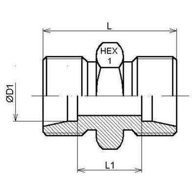 RVS rechte koppeling 14S (M22x1,5)