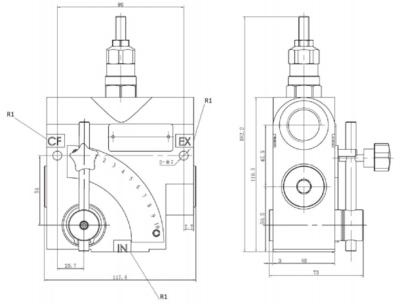 3-weg druk compenserende variabele stroomregelklep - 60L/min - 1/2
