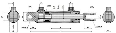 Dubbelwerkende cilinder 40x25x350 met gaffel bevestiging