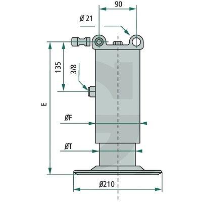 Hydraulische steunpoot 68 - 190