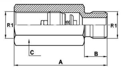 Slangbreukventiel 1/4'' BSP buitendraad male-female
