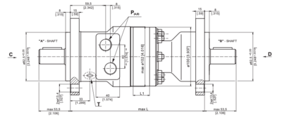 M+S MRB50 Hydraulische motor 50cc 25mm dubbele as