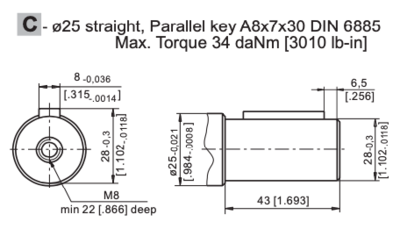M+S MRB315 Hydraulische motor 315cc 25mm dubbele as