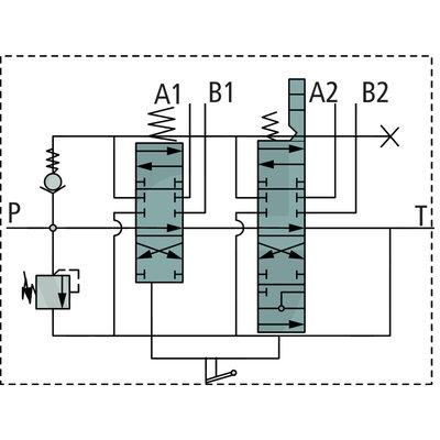 Voorlader stuurventiel 2 functies P80 met joystick zonder on/off functies 1500mm kabel