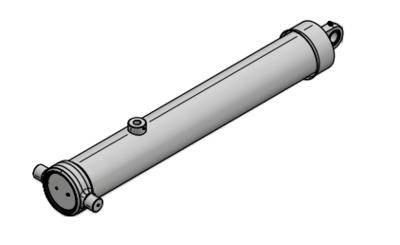 3 traps enkelwerkende telescoopcilinder, Ø95-129mm, slag 3500mm, 200 bar met gelenkoog