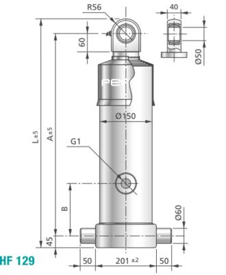 3 traps enkelwerkende telescoopcilinder, Ø95-129mm, slag 3840mm, 200 bar met gelenkoog