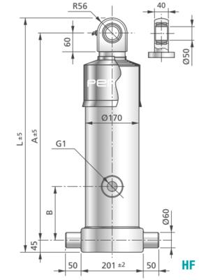 4 traps enkelwerkende telescoopcilinder, Ø95-149mm, slag 4950mm, 200 bar met gelenkoog